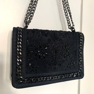 Zara Navy Suede and Embellished Bag with Chain